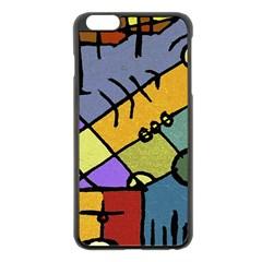 Multicolored Tribal Pattern Print Apple Iphone 6 Plus Black Enamel Case by dflcprints
