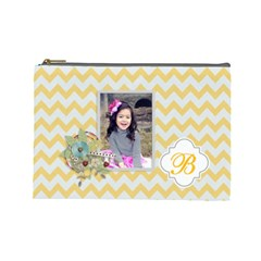 Cosmetic Bag (l): Yellow Chevron By Jennyl   Cosmetic Bag (large)   Yu81ne5k666r   Www Artscow Com Front