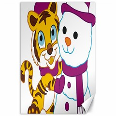 Winter Time Zoo Friends   004 Canvas 24  X 36  (unframed) by Colorfulart23