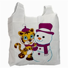 Winter Time Zoo Friends   004 White Reusable Bag (Two Sides) by Colorfulart23