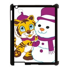 Winter Time Zoo Friends   004 Apple Ipad 3/4 Case (black) by Colorfulart23