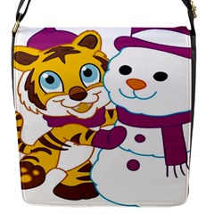 Winter Time Zoo Friends   004 Flap Closure Messenger Bag (small) by Colorfulart23
