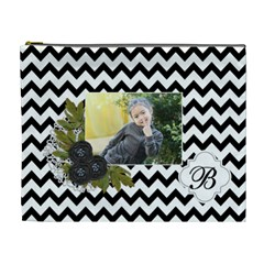 Cosmetic Bag (xl): Black Chevron By Jennyl   Cosmetic Bag (xl)   9m3svnxqvq52   Www Artscow Com Front
