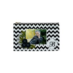 Cosmetic Bag (s):  Black Chevron By Jennyl   Cosmetic Bag (small)   Ogzdtm7h9sru   Www Artscow Com Front