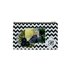 Cosmetic Bag (s):  Black Chevron By Jennyl   Cosmetic Bag (small)   Ogzdtm7h9sru   Www Artscow Com Back