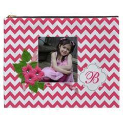 Cosmetic Bag (xxxl): Pink Chevron By Jennyl   Cosmetic Bag (xxxl)   U2f90wf347in   Www Artscow Com Front