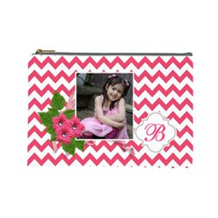 Cosmetic Bag (l): Pink Chevron By Jennyl   Cosmetic Bag (large)   Wwu03ih6nooj   Www Artscow Com Front