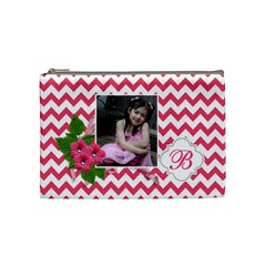 Cosmetic Bag (m):  Pink Chevron By Jennyl   Cosmetic Bag (medium)   Rtqafjas9bb7   Www Artscow Com Front