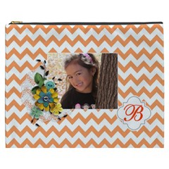 Cosmetic Bag (xxxl): Orange Chevron By Jennyl   Cosmetic Bag (xxxl)   D55ugyqvaik5   Www Artscow Com Front