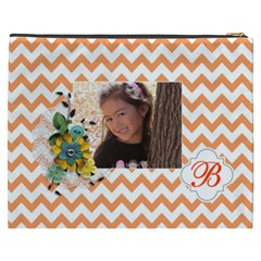 Cosmetic Bag (xxxl): Orange Chevron By Jennyl   Cosmetic Bag (xxxl)   D55ugyqvaik5   Www Artscow Com Back