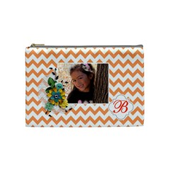 Cosmetic Bag (m): Orange Chevron By Jennyl   Cosmetic Bag (medium)   70wt3i18jb2v   Www Artscow Com Front
