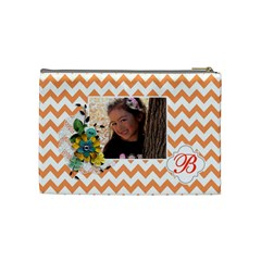 Cosmetic Bag (m): Orange Chevron By Jennyl   Cosmetic Bag (medium)   70wt3i18jb2v   Www Artscow Com Back