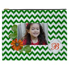 Cosmetic Bag (xxxl): Green Chevron By Jennyl   Cosmetic Bag (xxxl)   V8s2hcfasto8   Www Artscow Com Front