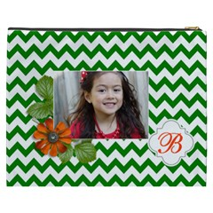 Cosmetic Bag (xxxl): Green Chevron By Jennyl   Cosmetic Bag (xxxl)   V8s2hcfasto8   Www Artscow Com Back