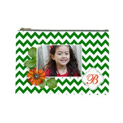 Cosmetic Bag (l): Green Chevron By Jennyl   Cosmetic Bag (large)   N9m4q6tdpxuc   Www Artscow Com Front