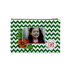 Cosmetic Bag (m): Green Chevron By Jennyl   Cosmetic Bag (medium)   8m6bd2zrbaq7   Www Artscow Com Back