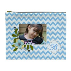 Cosmetic Bag (xl): Blue Chevron By Jennyl   Cosmetic Bag (xl)   Uhlzx48rf1zk   Www Artscow Com Front