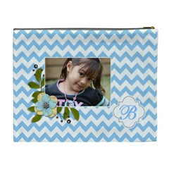 Cosmetic Bag (xl): Blue Chevron By Jennyl   Cosmetic Bag (xl)   Uhlzx48rf1zk   Www Artscow Com Back