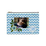 Cosmetic Bag (M): Blue Chevron - Cosmetic Bag (Medium)