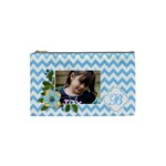 Cosmetic Bag (S): Blue Chevron - Cosmetic Bag (Small)
