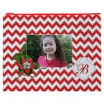Cosmetic Bag (XXXL): Red Chevron