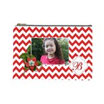 Cosmetic Bag (L): Red Chevron - Cosmetic Bag (Large)