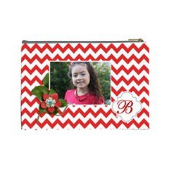 Cosmetic Bag (l): Red Chevron By Jennyl   Cosmetic Bag (large)   61zki0yd3612   Www Artscow Com Back