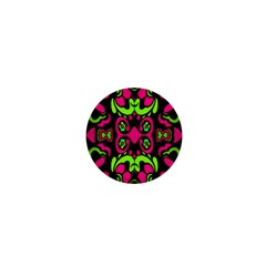 Psychedelic Retro Ornament Print 1  Mini Button by dflcprints