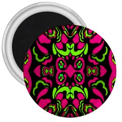 Psychedelic Retro Ornament Print 3  Button Magnet by dflcprints