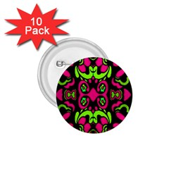 Psychedelic Retro Ornament Print 1 75  Button (10 Pack) by dflcprints