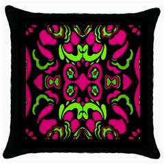 Psychedelic Retro Ornament Print Black Throw Pillow Case by dflcprints