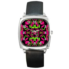 Psychedelic Retro Ornament Print Square Leather Watch by dflcprints