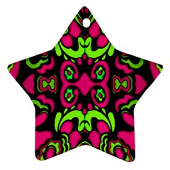 Psychedelic Retro Ornament Print Star Ornament (two Sides) by dflcprints