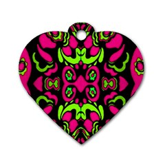 Psychedelic Retro Ornament Print Dog Tag Heart (two Sided) by dflcprints