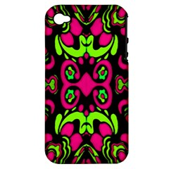 Psychedelic Retro Ornament Print Apple Iphone 4/4s Hardshell Case (pc+silicone) by dflcprints
