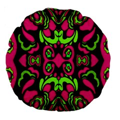 Psychedelic Retro Ornament Print 18  Premium Round Cushion  by dflcprints