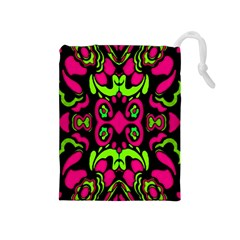 Psychedelic Retro Ornament Print Drawstring Pouch (medium) by dflcprints