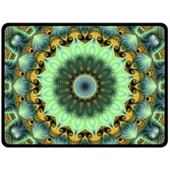 Green Fractal Shroom By Alex Hanley   Double Sided Fleece Blanket (large)   6myy7zk5xh88   Www Artscow Com 80 x60 Blanket Front