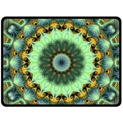 Green Fractal Shroom By Alex Hanley   Double Sided Fleece Blanket (large)   6myy7zk5xh88   Www Artscow Com 80 x60 Blanket Back