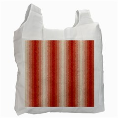 Red Curly Stripes White Reusable Bag (two Sides) by BestCustomGiftsForYou