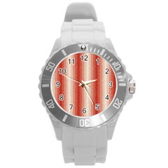 Red Curly Stripes Plastic Sport Watch (large) by BestCustomGiftsForYou