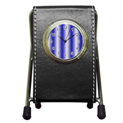 Dark Blue Curly Stripes Stationery Holder Clock by BestCustomGiftsForYou