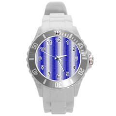 Dark Blue Curly Stripes Plastic Sport Watch (large) by BestCustomGiftsForYou