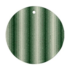 Dark Green Curly Stripes Round Ornament (two Sides) by BestCustomGiftsForYou
