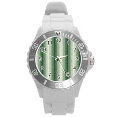Dark Green Curly Stripes Plastic Sport Watch (large) by BestCustomGiftsForYou