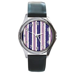 Native American Curly Stripes   2 Round Leather Watch (silver Rim) by BestCustomGiftsForYou