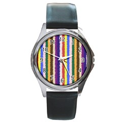 Vivid Colors Curly Stripes   1 Round Leather Watch (silver Rim) by BestCustomGiftsForYou