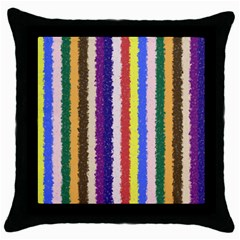 Vivid Colors Curly Stripes   1 Black Throw Pillow Case by BestCustomGiftsForYou