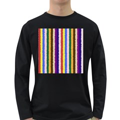 Vivid Colors Curly Stripes   1 Men s Long Sleeve T Shirt (dark Colored)