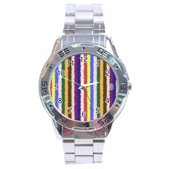Vivid Colors Curly Stripes   1 Stainless Steel Watch by BestCustomGiftsForYou